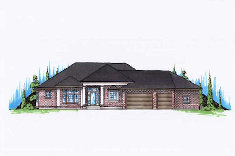 Modern Style House Plan - 4 Beds 2.5 Baths 2373 Sq/Ft Plan #5-141 Exterior - Front Elevation