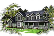 Country Style House Plan - 4 Beds 2.5 Baths 2491 Sq/Ft Plan #70-398 Exterior - Front Elevation