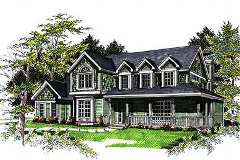 Country Exterior - Front Elevation Plan #70-398