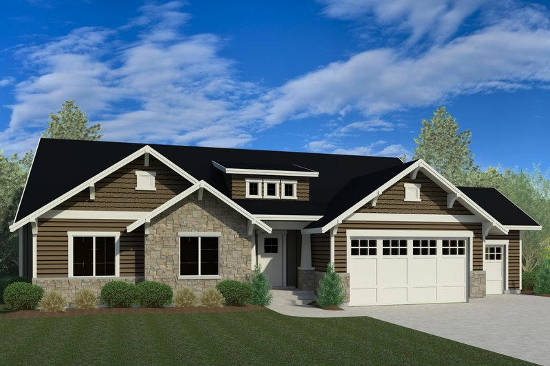 Ranch Exterior - Front Elevation Plan #920-97