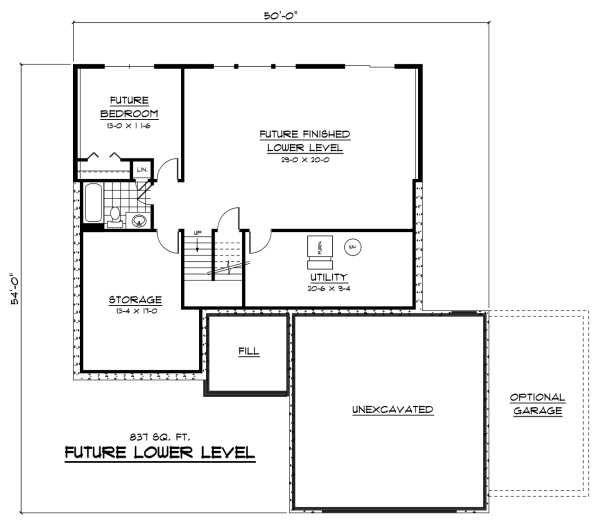 European Floor Plan - Lower Floor Plan Plan #51-233