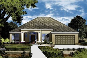 Architectural House Design - European Exterior - Front Elevation Plan #1015-40