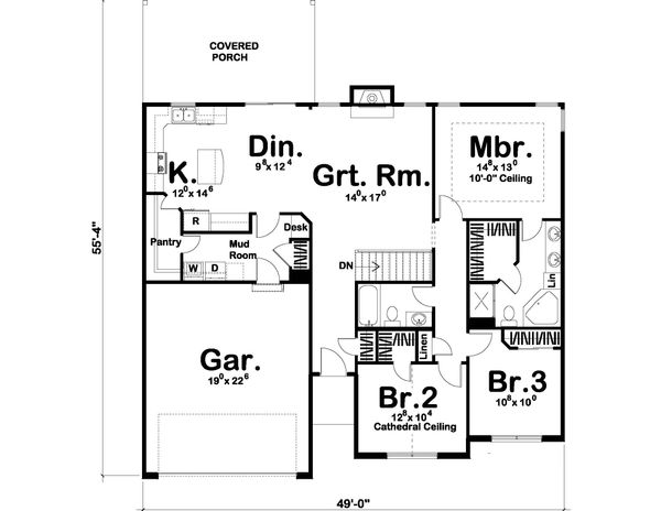 Traditional Floor Plan - Main Floor Plan Plan #455-201