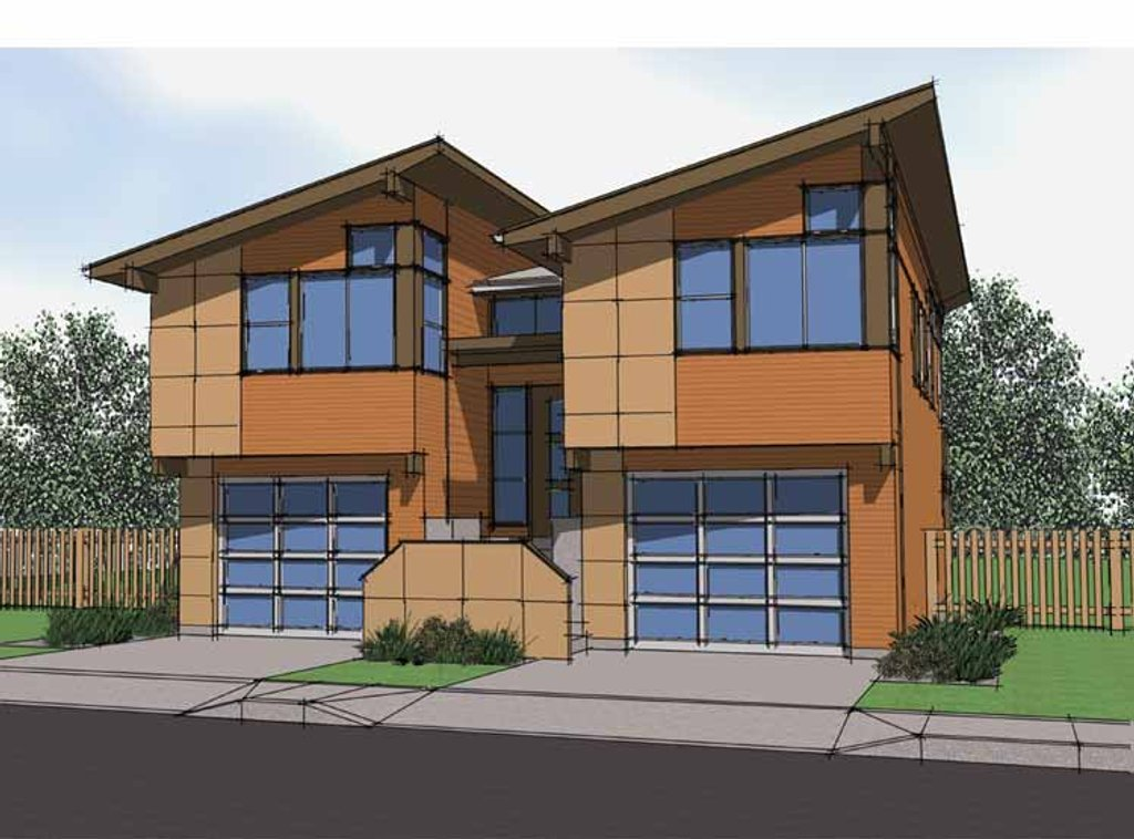 Contemporary Style House Plan - 3 Beds 3 Baths 2048 Sq/Ft ...