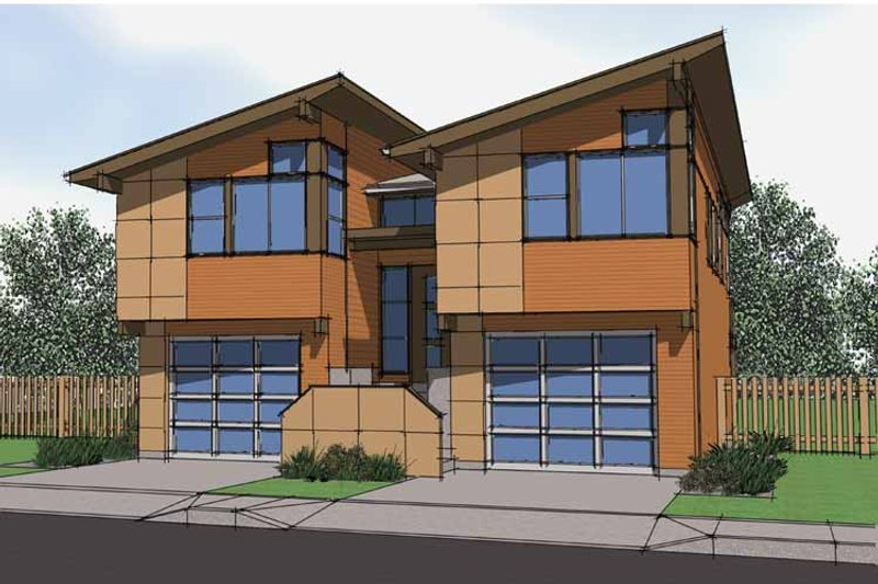 Contemporary Exterior - Front Elevation Plan #569-16 - Houseplans.com