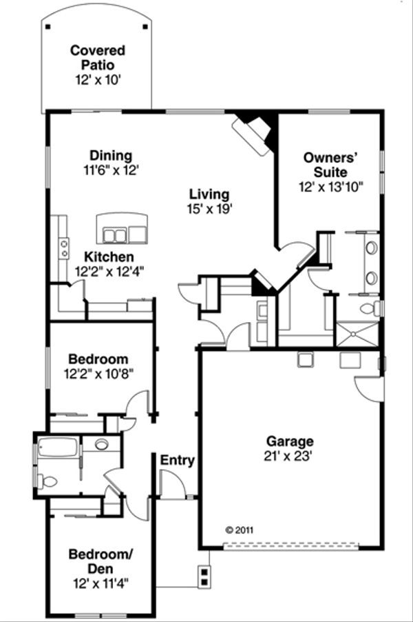 Craftsman Floor Plan - Main Floor Plan Plan #124-866