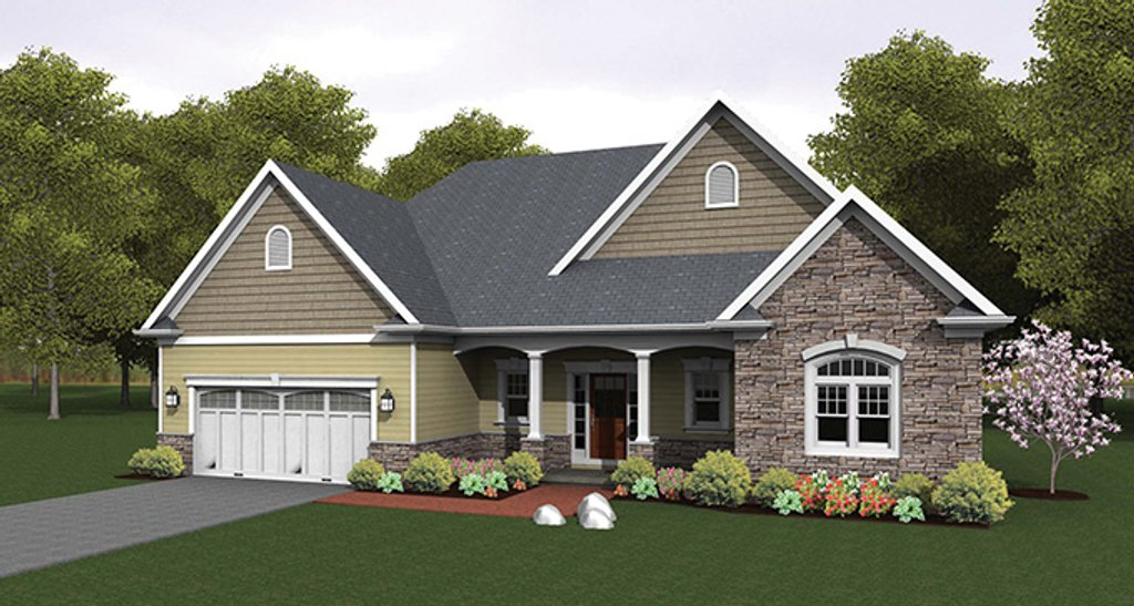 Ranch style house plan 3 beds 2 baths 1824 sq ft plan for 3 car garage square footage