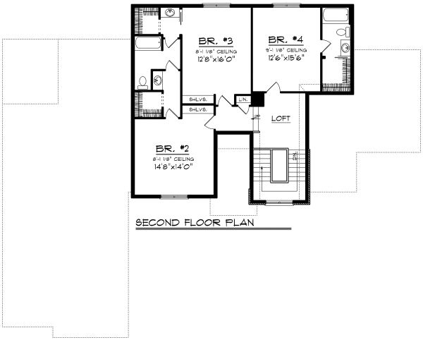 Traditional Floor Plan - Upper Floor Plan Plan #70-1182