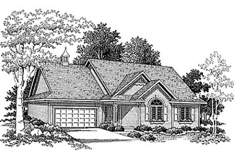 Traditional Style House Plan - 3 Beds 2 Baths 1600 Sq/Ft Plan #70-155 Exterior - Front Elevation