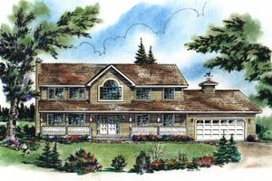 House Blueprint - Country Exterior - Front Elevation Plan #18-234