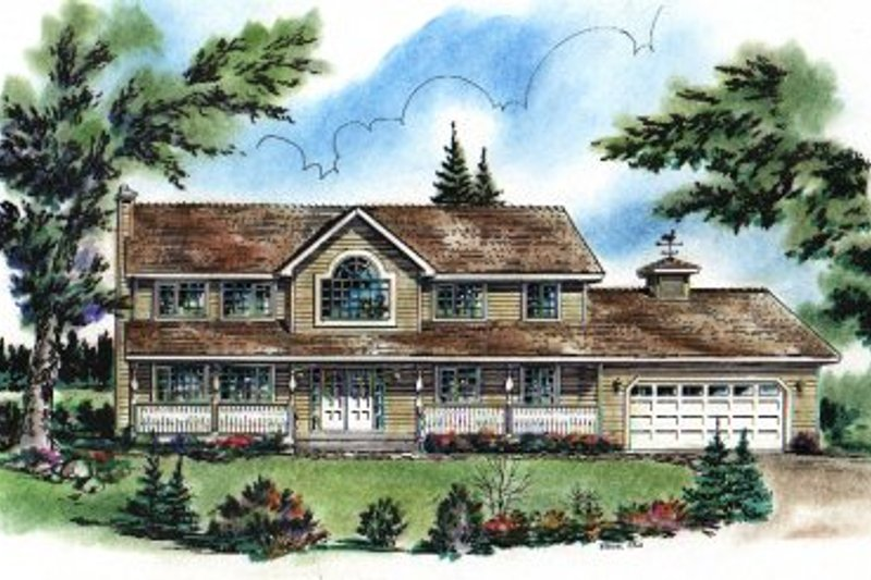 Architectural House Design - Country Exterior - Front Elevation Plan #18-234