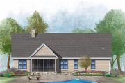 Ranch Style House Plan - 3 Beds 2 Baths 1818 Sq/Ft Plan #929-1002 Exterior - Rear Elevation
