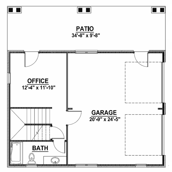 European Floor Plan - Main Floor Plan Plan #1064-10