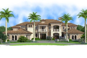 Mediterranean Exterior - Front Elevation Plan #27-549