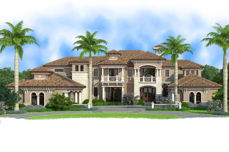 Mediterranean Style House Plan - 5 Beds 7.5 Baths 13245 Sq/Ft Plan #27-549 Exterior - Front Elevation
