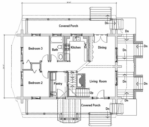 Log Floor Plan - Main Floor Plan Plan #451-13