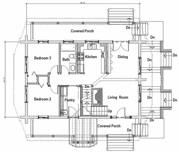 Log Floor Plan - Main Floor Plan #451-13