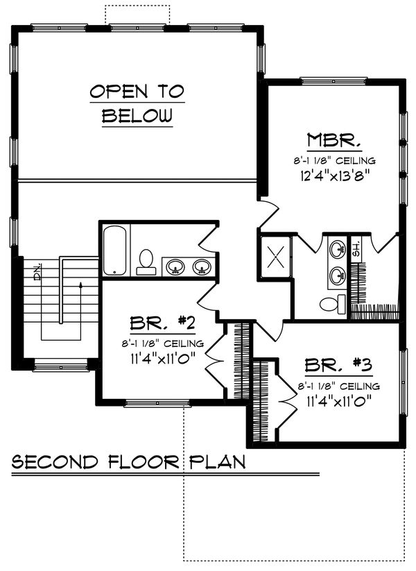 Craftsman Floor Plan - Upper Floor Plan Plan #70-1211