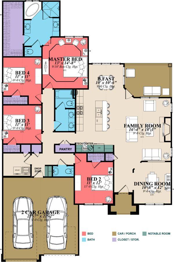 Traditional Floor Plan - Main Floor Plan Plan #63-382