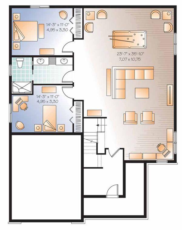 Traditional Floor Plan - Lower Floor Plan Plan #23-2525