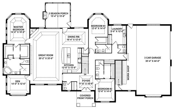 Craftsman Floor Plan - Main Floor Plan #1057-1