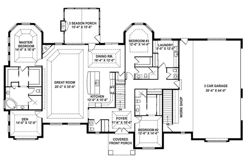 Craftsman Floor Plan - Main Floor Plan Plan #1057-1