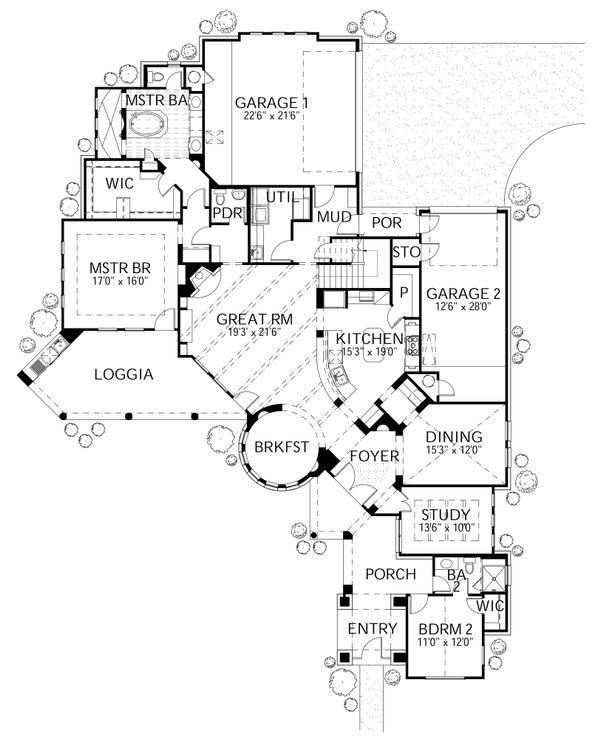Mediterranean Floor Plan - Main Floor Plan Plan #80-208