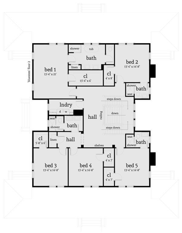 Farmhouse Floor Plan - Upper Floor Plan Plan #64-248