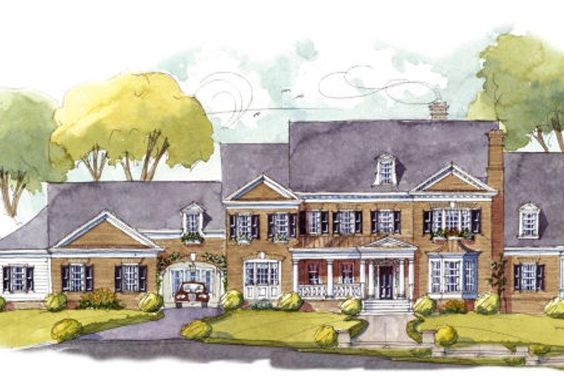 Colonial Style House Plan - 5 Beds 5 Baths 7124 Sq/Ft Plan #429-48 Exterior - Front Elevation