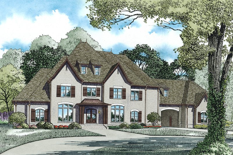 European Style House Plan - 4 Beds 4.5 Baths 6674 Sq/Ft Plan #17-2570 Exterior - Front Elevation