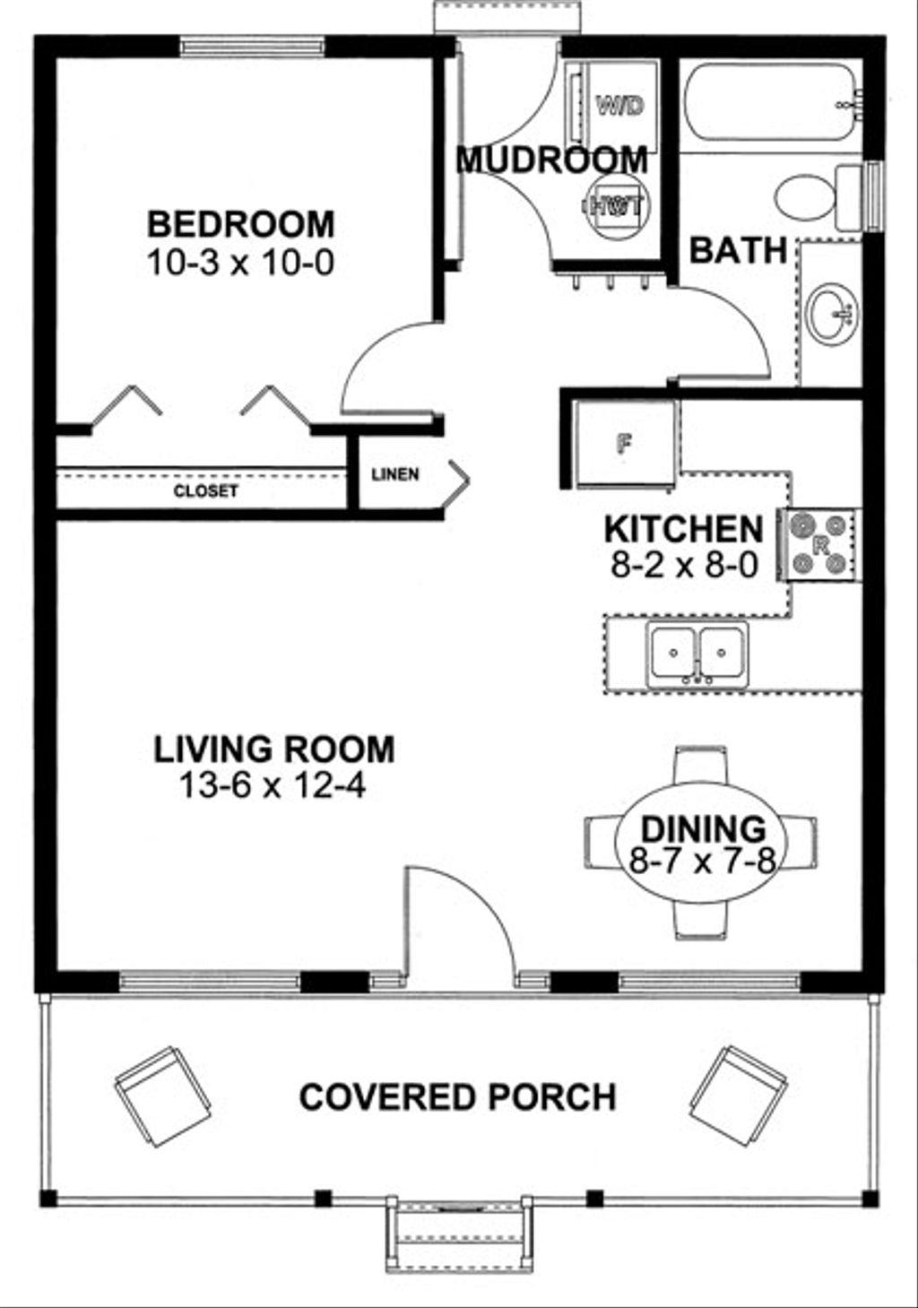 Cabin Style House Plan 1 Beds 1 Baths 598 Sq Ft Plan 126 149 Floorplans Com