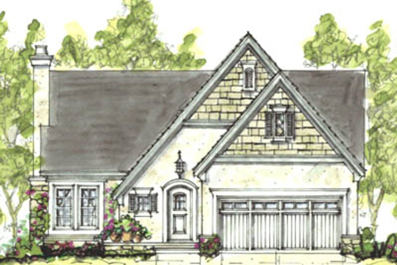 European Exterior - Front Elevation Plan #20-1225