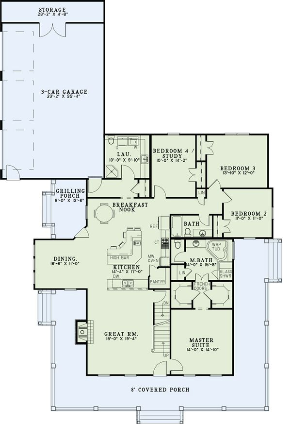 Country Style House Plan - 4 Beds 3 Baths 2180 Sq/Ft Plan #17-2503 Floor Plan - Main Floor Plan