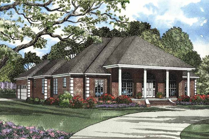 Classical Exterior - Front Elevation Plan #17-2988