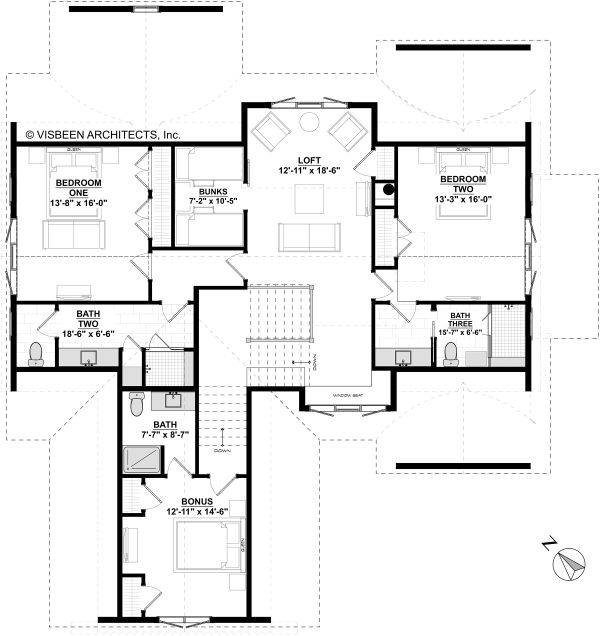 Colonial Floor Plan - Upper Floor Plan Plan #928-334