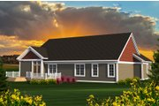 Ranch Style House Plan - 3 Beds 2.5 Baths 2123 Sq/Ft Plan #70-1196 Exterior - Rear Elevation
