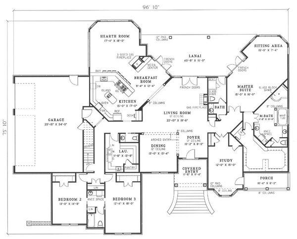European Floor Plan - Main Floor Plan Plan #17-240