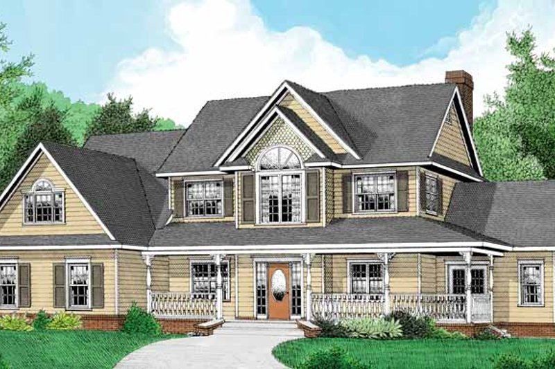 Architectural House Design - Country Exterior - Front Elevation Plan #11-268