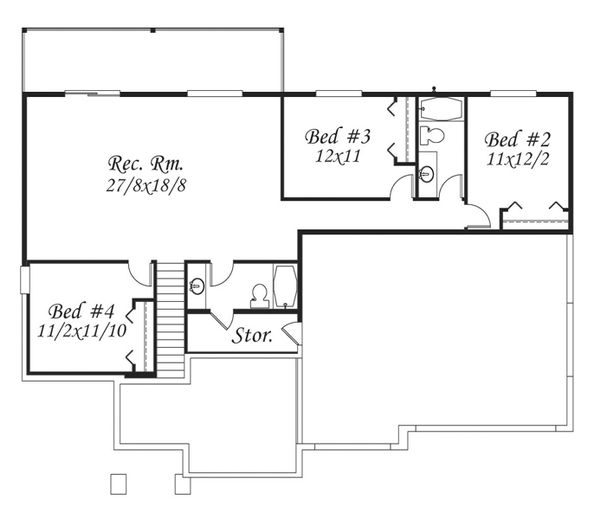 Prairie Floor Plan - Lower Floor Plan Plan #509-14