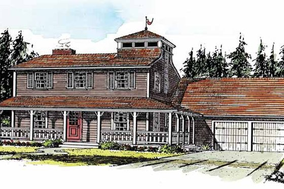 Country Exterior - Front Elevation Plan #315-122