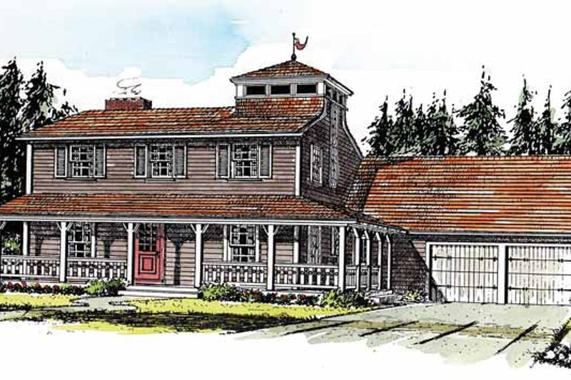 Country Style House Plan - 3 Beds 2.5 Baths 2133 Sq/Ft Plan #315-122 Exterior - Front Elevation