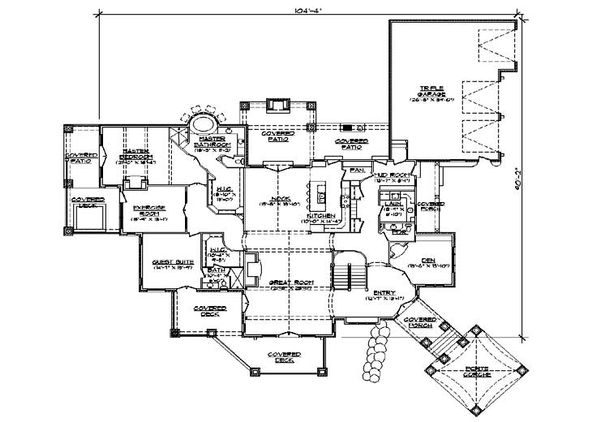 European Floor Plan - Main Floor Plan Plan #5-343
