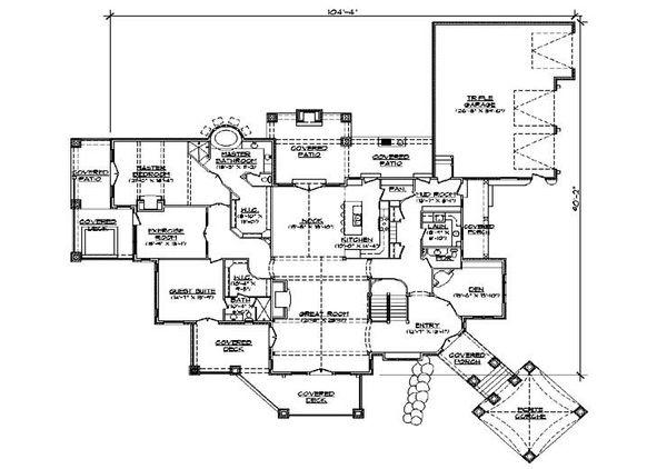 House Plan Design - European Floor Plan - Main Floor Plan #5-343