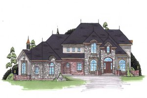 European Exterior - Front Elevation Plan #5-442