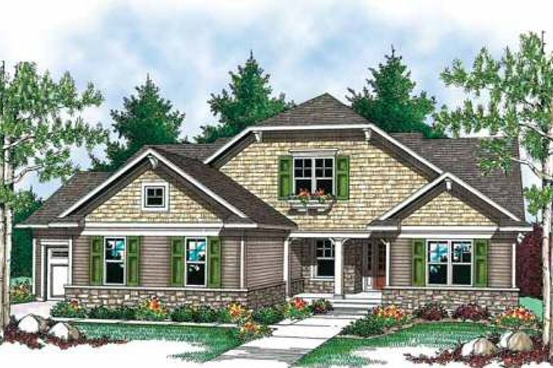 Craftsman Exterior - Front Elevation Plan #70-902