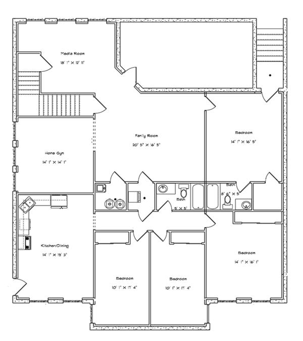 Ranch Floor Plan - Lower Floor Plan Plan #1060-21