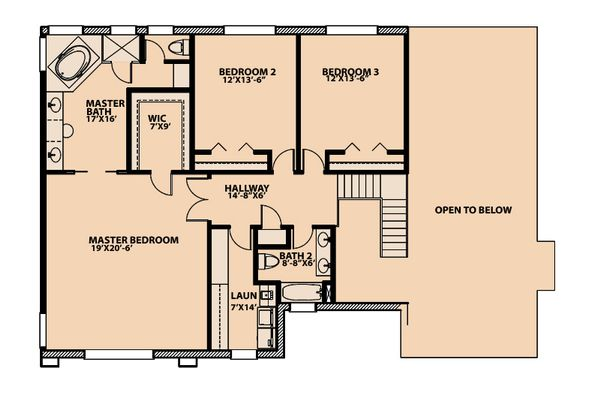 Traditional Floor Plan - Upper Floor Plan Plan #515-3