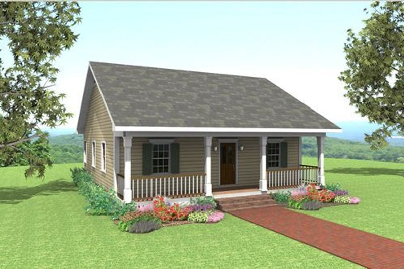 Country Style House Plan - 2 Beds 1 Baths 1007 Sq/Ft Plan #44-158