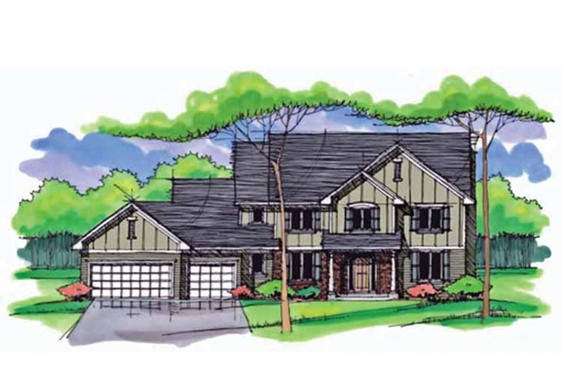 Architectural House Design - Colonial Exterior - Front Elevation Plan #51-1012