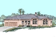 Mediterranean Style House Plan - 3 Beds 2 Baths 2240 Sq/Ft Plan #60-275 Exterior - Front Elevation